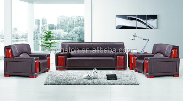 Luxury brown leather office settee sofa couch with wood frame(FOH-8005)
