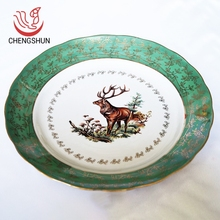 Cheap price green gold color round shape ceramic dish 14 inch dinner plates porcelain plate