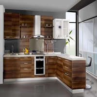 Simple Style Natural Solid Wood Kitchen Cabinet With White Acrylic Countertop