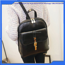 2016 Girls Fashion Backpack PU Leather Women Black leather backpack bags with Front Pocket