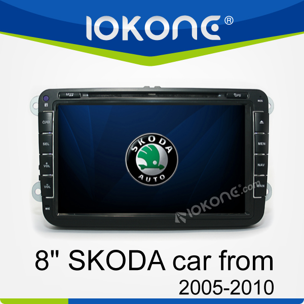 8'' Auto Radio GPS Stereo double din touch screen car dvd player for skoda