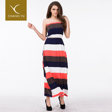 Women nice sleeveless dress design, fashion new womens clothes striped maxi dress