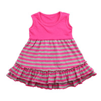 Wholesale 2016 Pakistani Children Frocks Designs Soft Baby Girls Plain Sleeveless Striped Dress