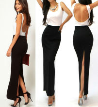 Elegant Black White Open Back High Sexy Slit Urban Cocktail Party Ready Dress