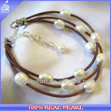 BR-00009 leather cord freshwater pearl jewelry designs bulk custom bracelet