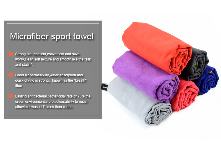 High quality custom design microfibre sports towel with custom size