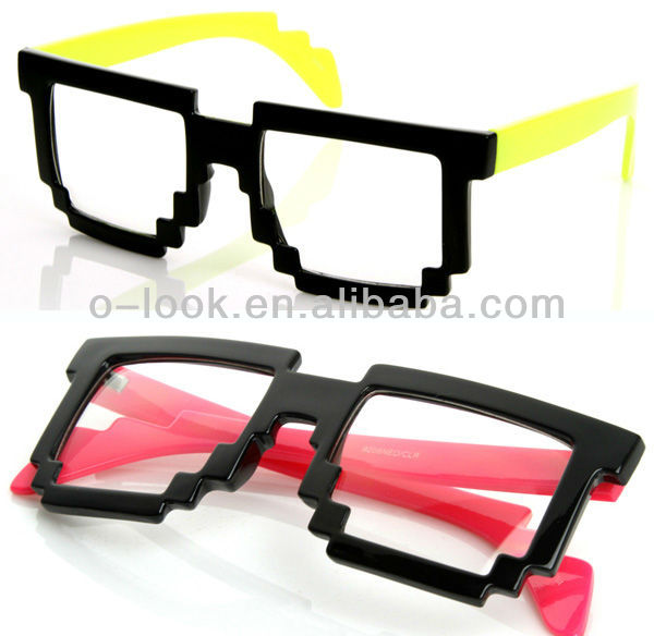 Futuristic Novelty Nerd Geek Gamer Colorful 2-Tone Clear Lens Pixel Glasses