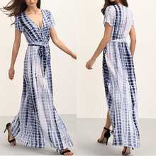 guangdong supplier top selling women tie dye deep v neck long slit maxi dresses