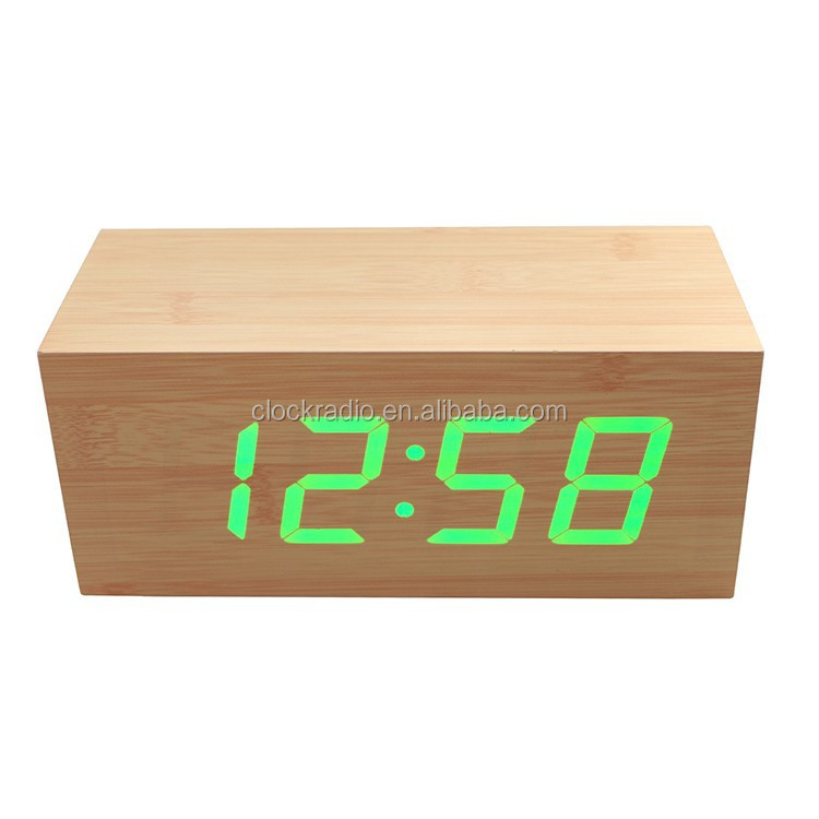 1.8 Inch Desk Digital Jumbo LED Wood Clock Hotel Bedroom Table Wooden Alarm Clock
