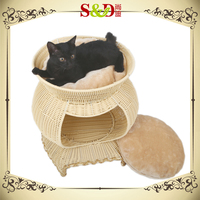 S&D really beautiful PE rattan pet house waterproof rattan kennel house