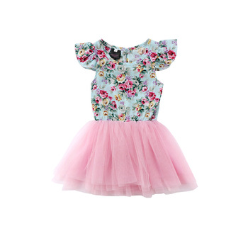 Cotton Baby Girl Dresses design sleeveless pink floral ruffled Chiffon tutu dress Baby infant clothes tulle dress