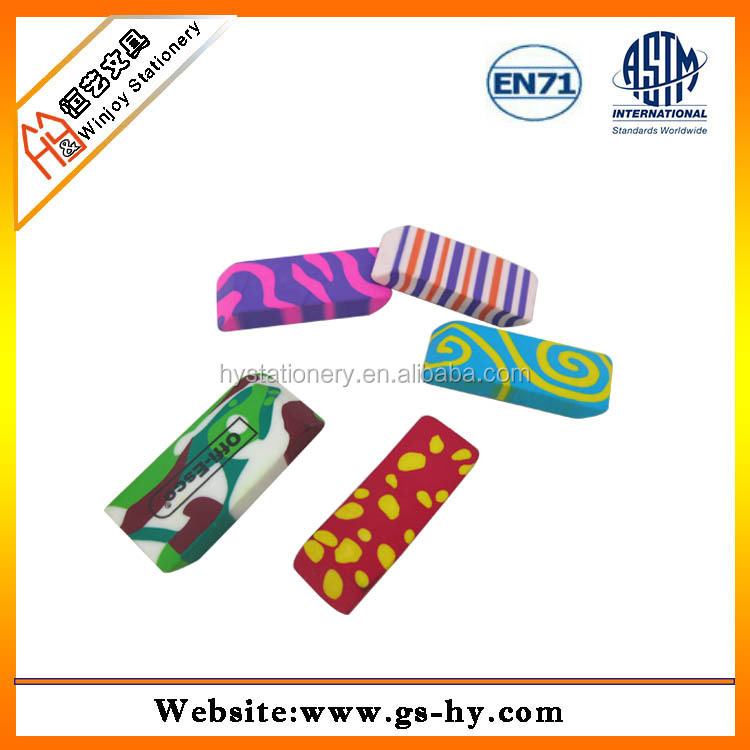 extruded colorful fancy and novelty erasers
