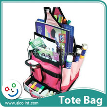 Polyester pink color mini craft tote bag for scrapbook storage