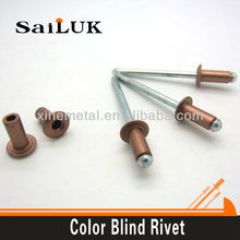 Aluminum color painted blind rivets types of sizes 2.4mm,3.2mm, 4.0mm, 4.8mm, 6.4mm rivets