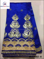 2016 Embroidery sequins george fabric African royal blue raw silk fabrics MCL9182-8