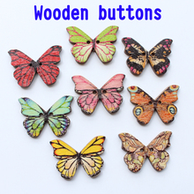 2 holes Wooden Buttons butterfly shape for Sewing Scrapbooking DIY Accessories Button