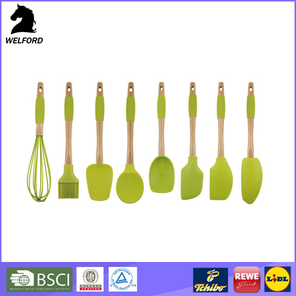 high quality silicone baking utensil with bamboo handle