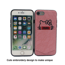 Hello kitty cute embroidery wallet phone case cover with card slot