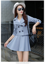 2016 Wholesale Double Breasted European Fashion Women Suits Elegant Casual Skirt Suits For Ladies C256