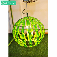 Green Flat Rattan Round-Shapes Wicker Lamp Pendant Ceiling Lighting