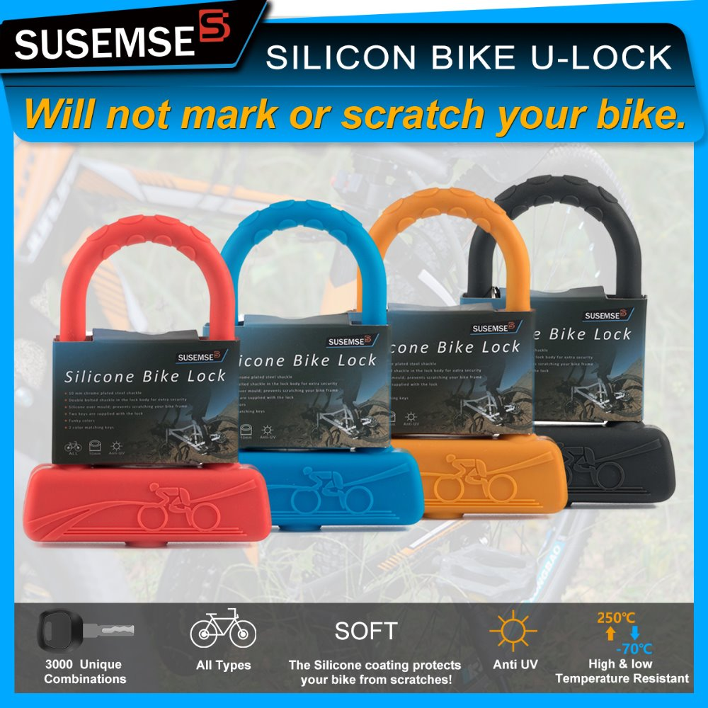 susemse high safety bicycle lock for bike silicone overmould u lock buy u l. Black Bedroom Furniture Sets. Home Design Ideas