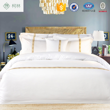 High Quality Pure White Embroidery Logo Cotton Hotel Bed Linen for Shangri-La