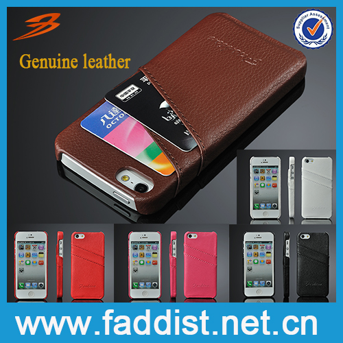 Genuine leather back cover case for iphone 5s case with card slot