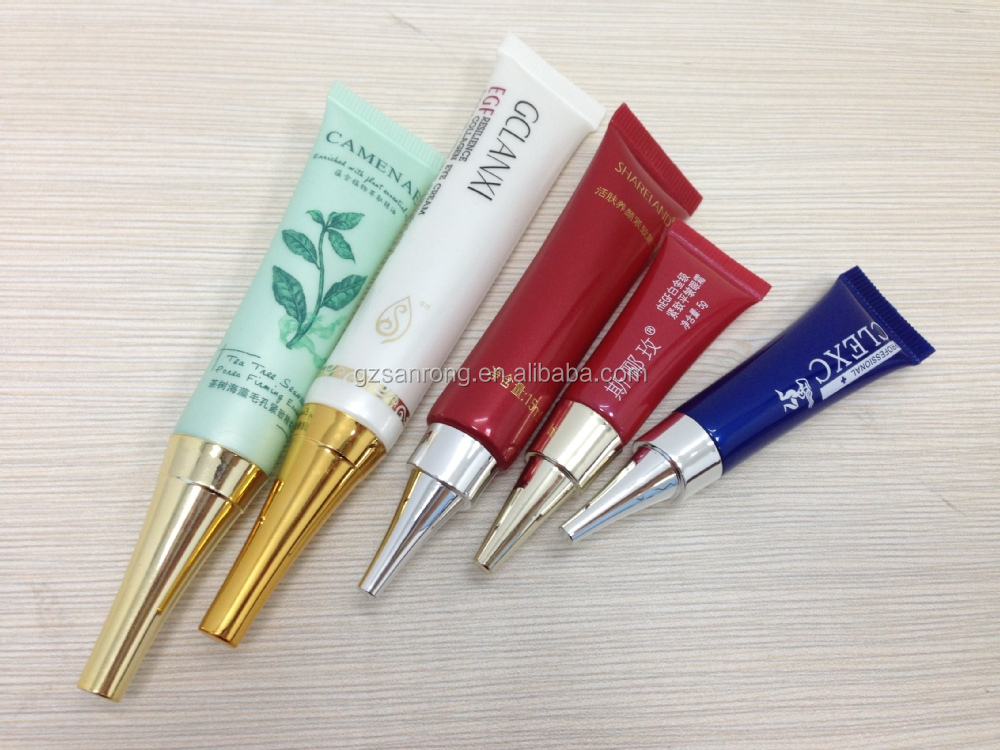 OEM manufacturer 10ml mac make up tube HDPE material screen printing surface nozzle cosmetic ideal face whitening cream tube