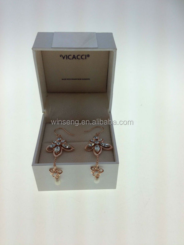 925 Sterling Silver Rose Gold Plated Bauhinia Flower pearl Earrings with Crystals from SWAROVSKI