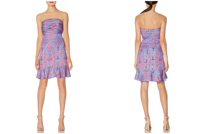 latest mature ladies casual strapless paisley dress