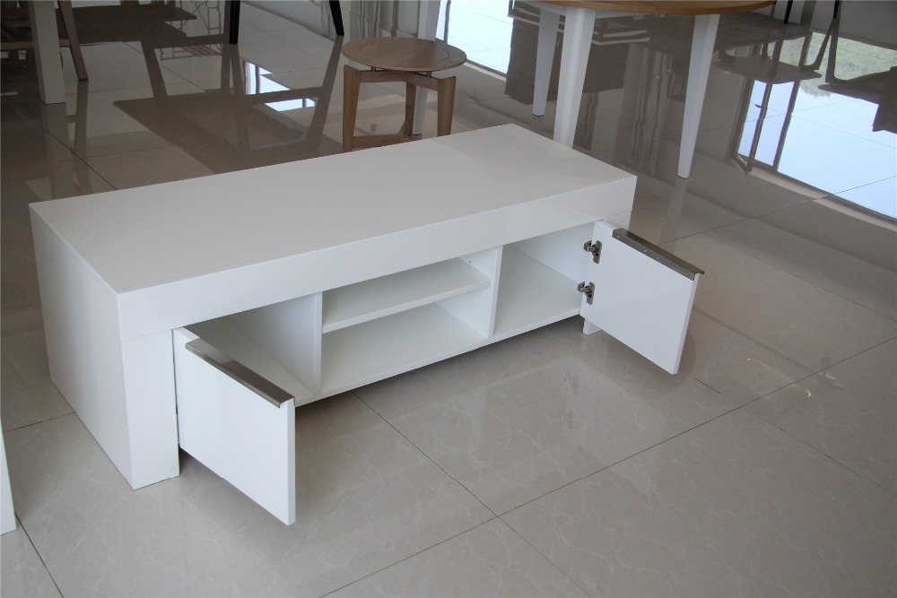 Wholesale furniture design white high glossy lacquer lcd tv table