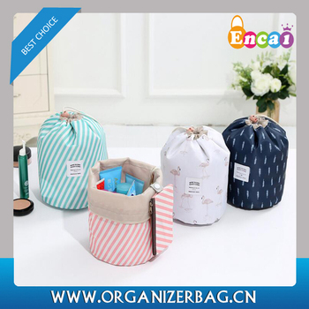 Encai New Arrival Cylindrical Drawstring Cosmetic Bag
