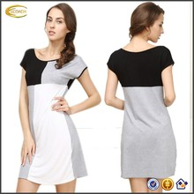 Ecoach Wholesale OEM Ladies Pretty O-Neck Short Sleeve Color Block Trendy Pullover Style Sleepwear