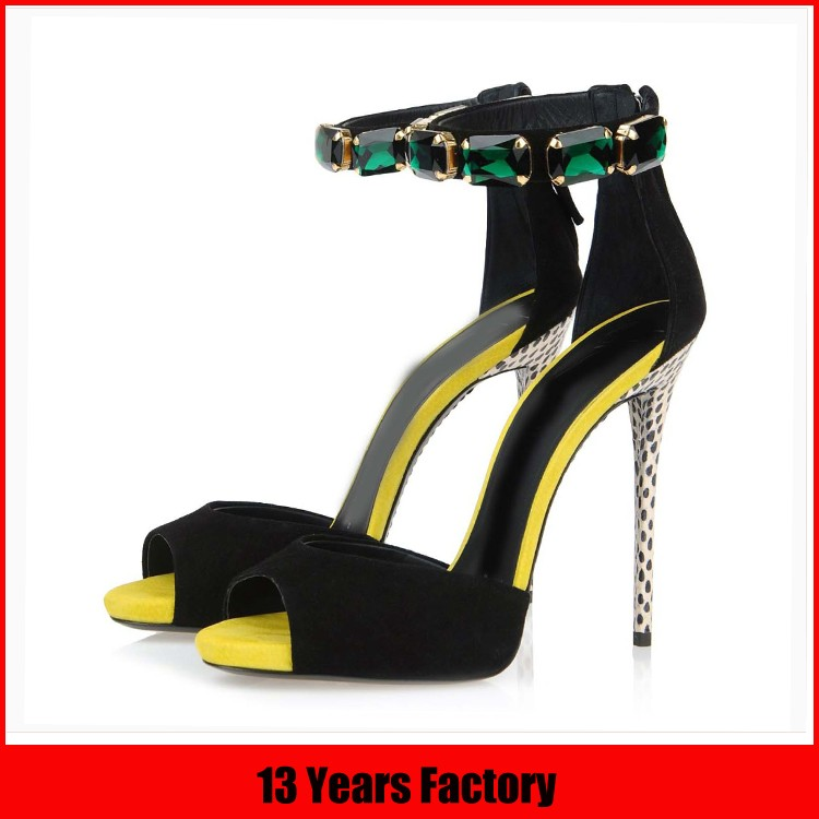 Latest ladies shoes design with lace up high heel wholesale ladies sandals