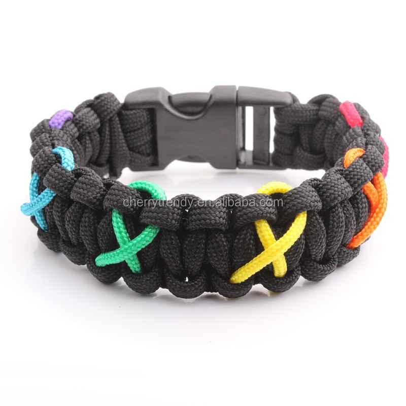 550 Paracord Parachute Cord Lanyard Survival Bracelet Rainbow Climbing Camping Survival Wristband