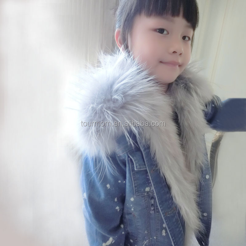 2016 Fashionable children winter real rabbit fur lined denim parka real fur jacket raccoon