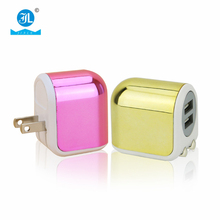 2A Double USB Port Folding Plug home Charger Gold color retractable plug usb charger