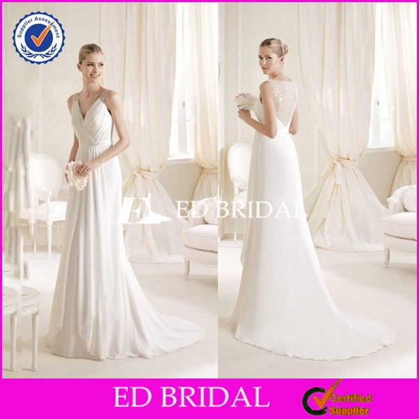Beautiful V Neck Sequined Hollow Back A Line Chiffon Bridal Dresses Alibaba