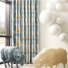 Blackout jacquard high luxury living room house curtains with attached valance