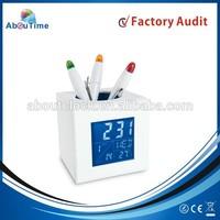 2015 new digital pen holder clock with office desktop gift item