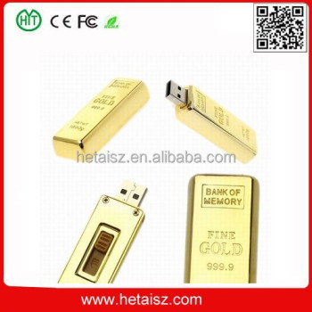 Newest design golden usb flash drive pen drive 8GB 16GB Gold Bar USB 2.0 Flash memory pendrive Stick disk