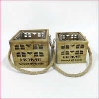 burning color wooden square glass home sweet home candle holder for home decoration and XMAS
