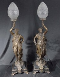 Pair-Bronze-Lights-Statue-Liberty-Torcheres-