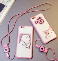 Luxury Cartoon Cute Lovely Printed Cat Rubber Soft Silicone Phone Case Cover For iPhone 5S 6 6S Plus with Lanyard Rope