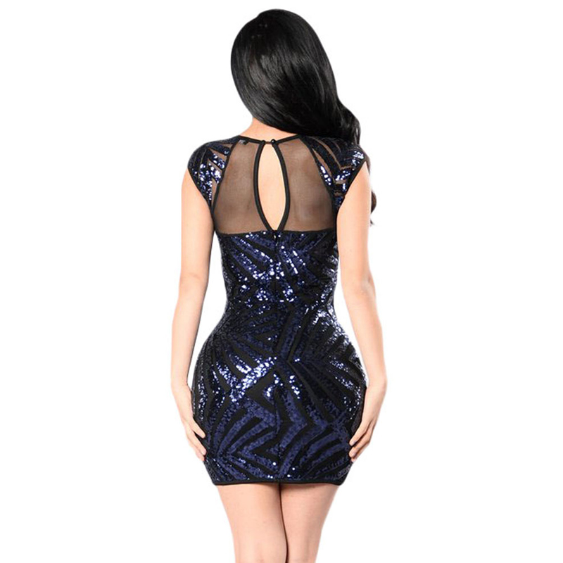 2019 Wholesale Black Sequin Mesh Cutout Sexy Hot Club Dress