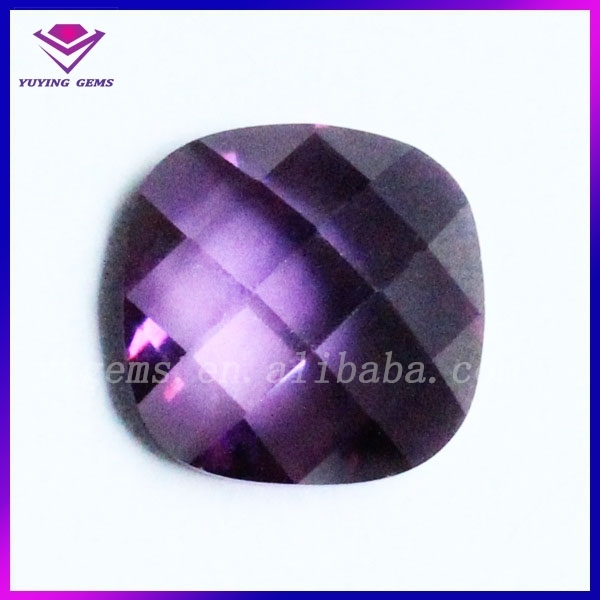 Flat back turtle face square amethydt cubic zirconia synthetic diamond loose stone far wholesale