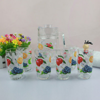 beautiful hand-painting pattern glass cup with a jug
