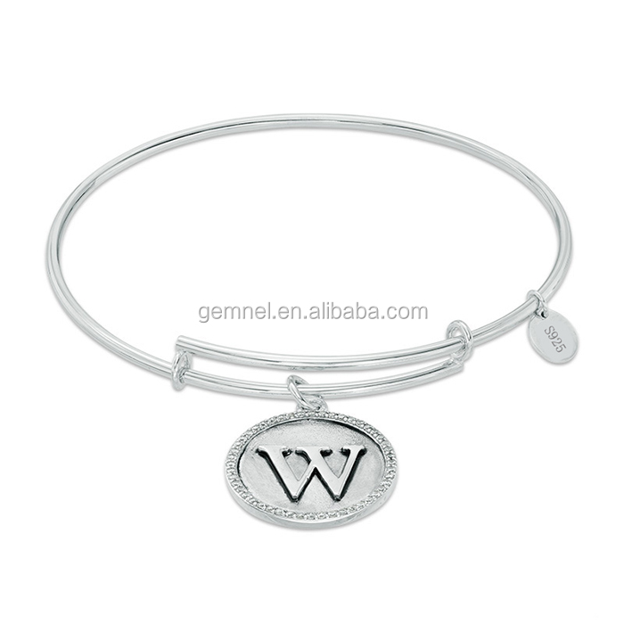 Gemnel jewelry 925 sterling silver initial W adjustable alex bangle
