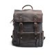 Retro canvas double shoulder bag androgynous school wind pure cotton canvas head layer crazy horse cowhide travelling backpack