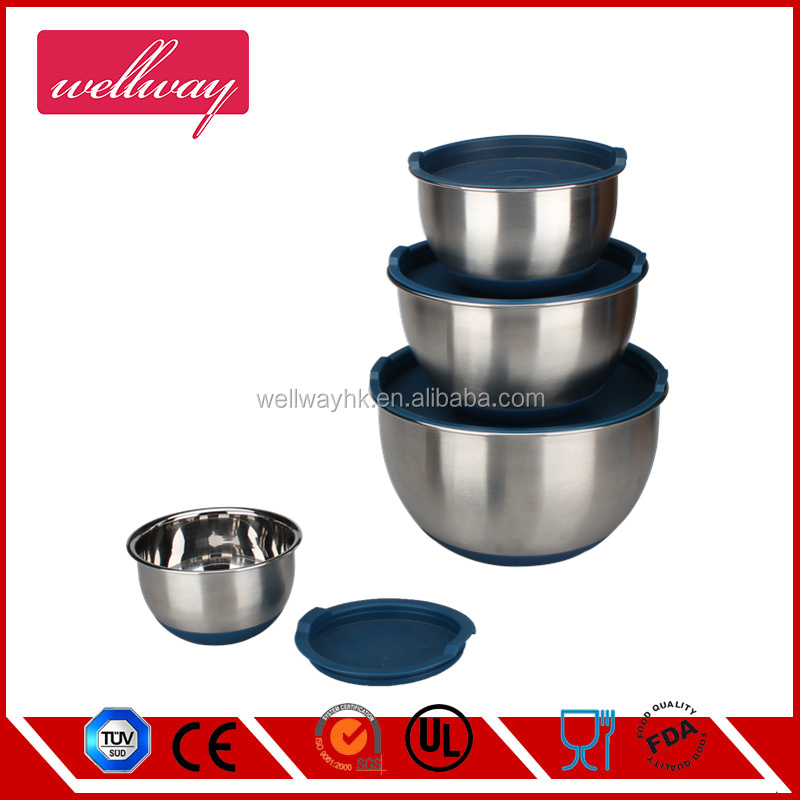 Mixing Bowl Stainless Steel Non Skid Nesting Set 5pcs Food Tong